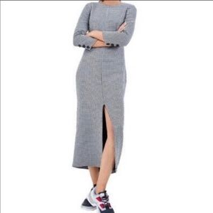 🆕Houndstooth sleeve long dress with split, M